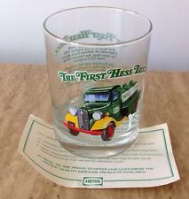 HESS TRUCK GLASS  THE FIRST HESS TRUCK 1996 GREEN REPLICA 1933 TANKER