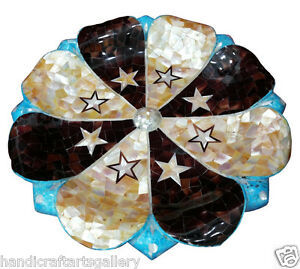 """15"""" Marble Fruit Bowl Turquoise Mother of Pearl Inlay Stars Dining Decors Gift"""