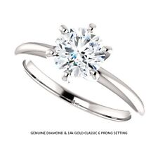 0.90 Carat Ideal Cut Genuine Diamond Solitaire Ring in 14k Gold