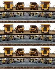 Trucks Mining Trucks Stripe Allover Cotton Quilting Fabric 1/2 YARD