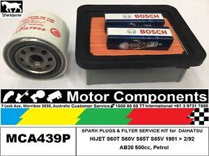 SPARK PLUG & FILTER SERVICE KIT for DAIHATSU HIJET 2cyl  S60 S65  1981 > 1992