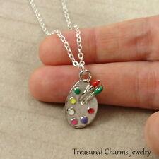 Silver Artist Paint Palette Necklace - Painter Painting Easel Charm Pendant NEW