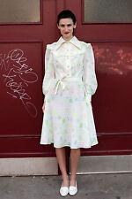 Damen Kleid dress weiß white pink gelb neon 70er True VINTAGE 70´s women Sommer