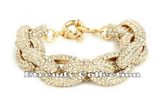 GOLD Chunky Pave Link Chain Classic Crew Bracelet J Style with 1,500+ Crystals