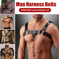 Bondage de cuero Traje masculino Hombres Cuerpo Cofre Arnés Correa Cinturones ad