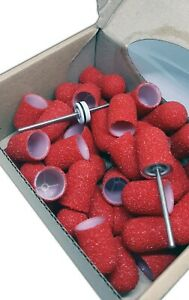 50 pcs, ∅ 13mm, 40 Grit, Coarse, MULTIBOR PEDICURE SANDING CAPS Red