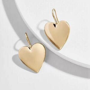 Beautiful Heart Shape Gold  Hook Earrings, Valentines Gift Birthday Love Party