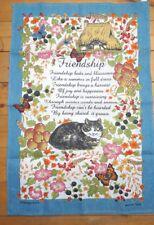 Vintage 'amistad' Algodón Toalla de té con poema, gato, cabaña