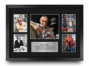 Stan Lee A3 Framed Marvel Creator Gift Printed Signed Autograph Picture to Fan