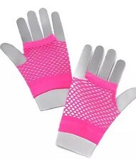 Neon Pink Ladies 1980's Fishnet Short Fingerless Girls /Women Fancy Dress Gloves