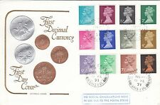 GB :1971 Decimal Machin 1/2d-9d  -Illustrated  FDC-double ring  cancel
