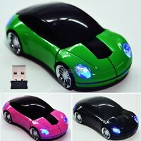 New 2.4G Car Shape Wireless Optical Mouse Mice For Laptop PC USB Receiver OK
