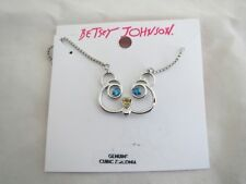 and yellow crystal necklace, Nwt Betsey Johnson gold tone bear~blue