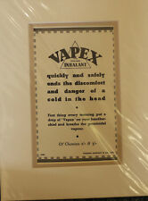 Vintage Advert mounted ready to frame Vapex Inhalant for colds in the head1950's