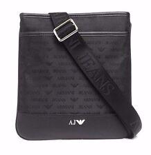 Mens Armani Jeans Small Messenger Shoulder Bag All Over Logo Print 932527 Black