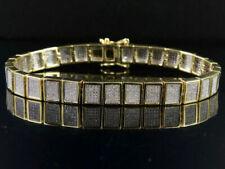 "Mens 10k Yellow Gold Genuine Diamond Iced Square Link Bracelet 2 1/2 Ct 8mm 8.5"""