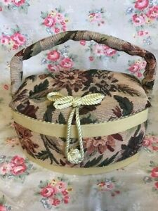 Vintage Tapestry Sewing Basket Contains Assorted Sewing / Craft Items