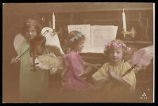 Edwardian 1910s original vintage photo postcard angel play pianno violin flute