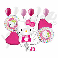 11 pc Sitting Hello Kitty w/ face Balloon Bouquet Decoration Happy Birthday Girl