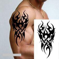 Waterproof Temporary Black Fire Tattoo Sticker Black Tatoo Fake Tatto Neck Arm