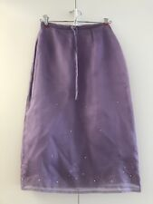 Warehouse of London Vintage Silk Purple Skirt US SZ4 sequins embroidered flowers