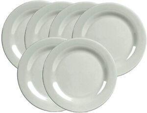 "White Dinner Plate 6-Piece 10"" Round Dinner Plate Round Plate Melamine Plastic"