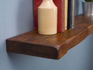 Solid Wood Rustic Handmade Pine Floating Shelf, Finished in Chunky Oak