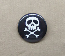 "Captain Harlock Space Pirate Logo Button 1.25"" Skull and Crossbones Black Anime"