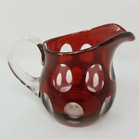 Ruby Red Cut to Clear Glass Small Creamer