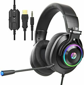 HP Wired Gaming Headset, Adjustable Mic LED Light, for PS4, Nintendo Switch H500