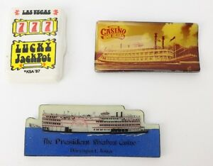 Vtg Refrigerator Magnets President Riverboat +Rock Island Cassino Las Vegas Slot