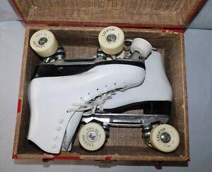 Vintage Dominion Canada Roller Skates Sure Grip Plates Powell Bones Wheels 10.5