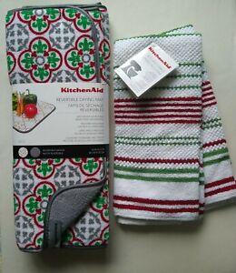 KitchenAid Set- 2 Reversible Dish Drying Mat & 2 Towels, Red, Green, Silver