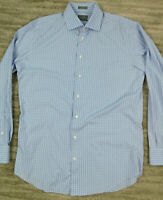 Calibrate Men's Non Iron Trim Fit Dress Shirt size 16 34/35 Blue White Checks