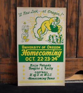 >orig./RARE! 1948 University of Oregon Ducks 13x22 HOMECOMING FOOTBALL BROADSIDE