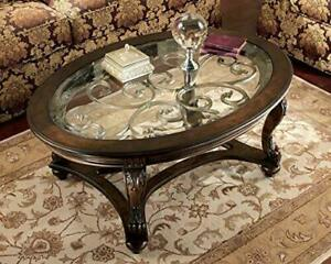 - Norcastle Traditional Glass Top Oval Coffee Table, Dark Brown