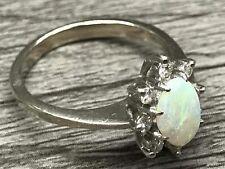 14K White Gold Opalescent Test Diamonds Ring