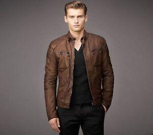 Mens Biker Vintage Style Motorcycle Distressed Brown Real Leather Jacket