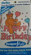 Delta Iron On Fabric Transfer Pattern Happy Birthday Bear