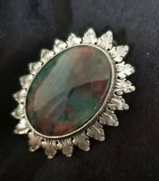 Vintage Miracle Brooch faux ammolite red green blood stone Scottish Celtic