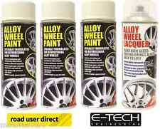 3 x E-Tech White Wheel Paint and 1 x Clear Lacquer Car Alloy Wheel Spray Paint