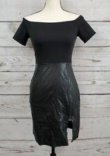 Just Fab Off Shoulder Little Black Dress Bodycon Mini Faux Leather Womens XS