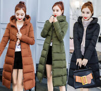 Womens Winter Cotton Down Jacket Padded Coat Hooded Quilted Long Parka Outwear