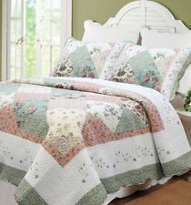 CELIA PATCHWORK Full Queen QUILT SET : CELADON SHABBY FLORAL CHIC COTTAGE BED