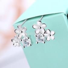 Women's Silver Plated Flower Bling Crystal Rhinestone Ear Stud Earrings Gift ca
