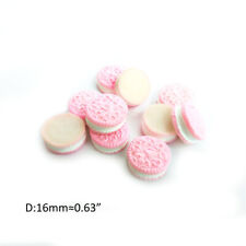 10Pcs Miniature Resin Medium Oreo Sandwich Biscuit Dollhouse Accessory Pink