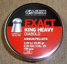 NEW! JSB EXACT KING HEAVY .25 CALIBER DOMED PELLETS 33.95 grain 150 COUNT CZECH