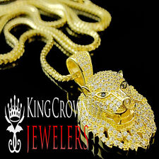 Sterling Silver Simulated Diamond Lion Head Pendant + Chain Yellow Gold Finish