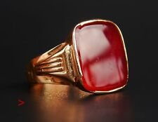 1949 Antique Retro Men Signet Ring solid 18K Gold Carnelian US 9 /5.1