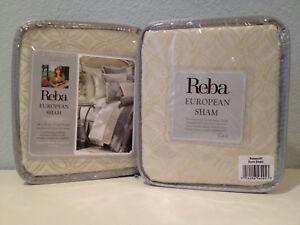 2 Reba Harmony Rosecliff European Euro Pillow Shams Ivory Aqua Jacquard